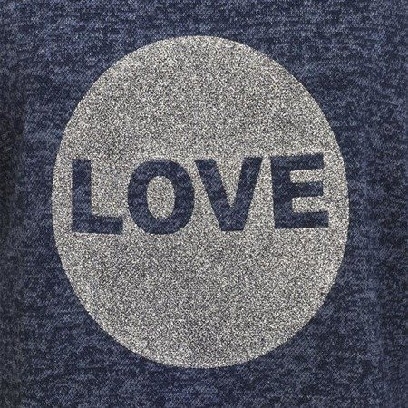 SWETER Z BROKATOWYM LOVE GRANATOWY (5104-5)